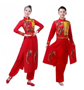 Women's chinese folk dance costumes dragon boat drummer yangko stage performance costumes
