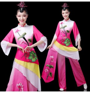 Women's chinese folk dance costumes fairy yangko fan umbrella square dance dress drummer stage performance dresses costumes