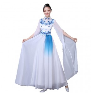 Women's Chinese folk dance costumes female blue and white ancient traditional classical dance dresses china style fairy performance dress