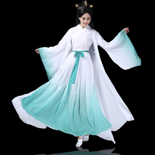 Women's Chinese folk dance costumes female fairy hanfu cosplay dresses green gradient colored stage performance guzheng dress