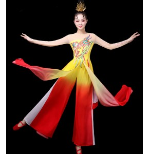 Women's chinese folk dance costumes fiary dresses ancient traditional classical fan umbrella stage performance costumes