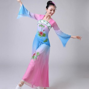 Women's chinese folk dance costumes for female pink green ancient traditional yangko fan fairy cosplay dance costumes