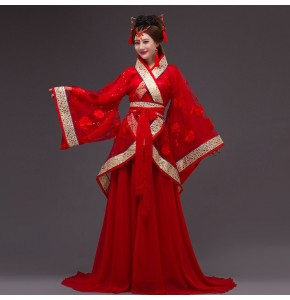 Women's chinese folk dance costumes for female red blue fuchsia fairy ancient traditional photos princess cosplay hanfu robes dresses