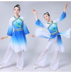 Women's chinese folk dance costumes  fuchsia blue green ancient traditional new year celebration classical yangko fan fairy cosplay dresses