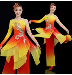 Women's chinese folk dance costumes gold with red chinese  yangko fan umbrella ancient traditional classical dance costumes