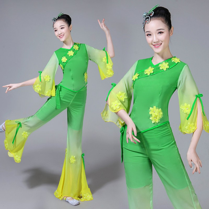 Women's Chinese folk dance costumes green colored ancient square fan dance traditional classical dance fairy cosplay clothes dresses