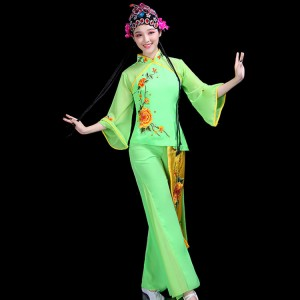Women's Chinese folk dance costumes green colored fairy ancient traditional stage performance yangko classical fan umbrella dance tops and pants