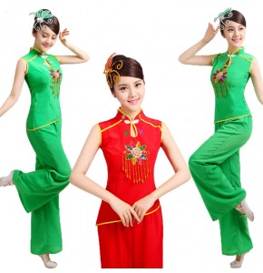 Women's Chinese folk dance costumes green red colored china style yangko dance stage performance square dance costumes dresses