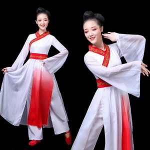 Women's chinese folk dance costumes  hanfu fairy dresses white with red ancient traditional classical yangko fan umbrella dance dresses