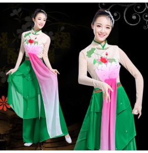 Women's chinese folk dance costumes lotus flowers fairy drama cosplay dresses yangko classical dance dress