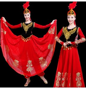 Women's chinese folk dance costumes minority uygur xinjiang dance stage performance dresses belly dance dress
