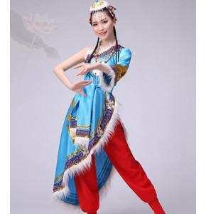 Women's chinese folk dance costumes mongolian tibet minority stage performance robes dresses