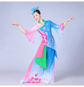 Women's chinese folk dance costumes pink blue gradient ancient traditional china fan yangko performance fairy cosplay dresses