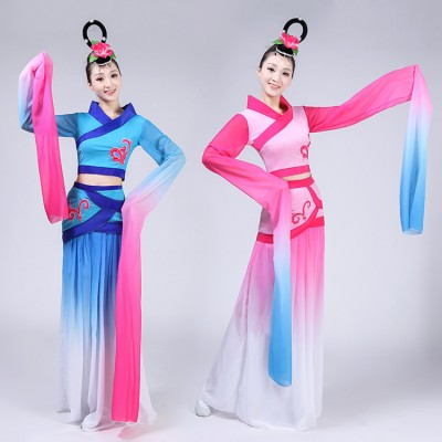 Women's Chinese folk dance costumes pink blue gradient colored hanfu water sleeves ancient traditional classical fairy cosplay dance dresses