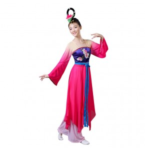 Women's chinese folk dance costumes pink gradient ancient traditional yangko fan dancing dresses fairy cosplay costumes