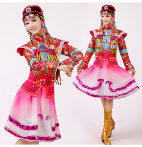 Women's Chinese folk dance costumes pink Mongolian traditional Chinese minority stage performance drama cosplay robes dresses