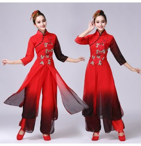 Women's Chinese folk dance costumes red and black gradient ancient traditional yangko professional fairy photos cosplay dancing dresses