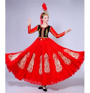 Women's chinese folk dance costumes red black xinjiang belly stage performance cosplay photos dancing dresses