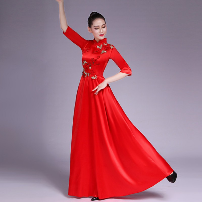 86d8e4b34 Women\'s chinese folk dance costumes red colored china style chorus qipao  chinese dresses ancient ...