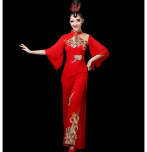 Women's chinese folk dance costumes red dragon pattern yangko drummer stage performance costumes dresses