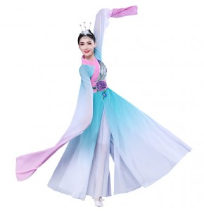 Women's Chinese folk dance costumes water sleeves female ancient fan umbrella dance dress traditional classical fairy dance dresses