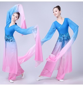 Women's chinese folk dance costumes water sleeves pink with blue hanfu dresses ancient traditional fairy yangko cosplay dresses