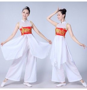 Women's Chinese folk dance costumes white  colored ancient traditional stage performance yangko umbrella traditional dance dresses
