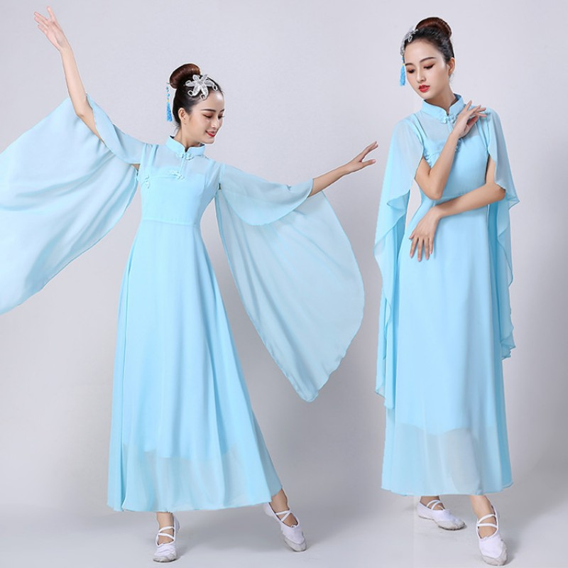 Women's chinese folk dance cotumes blue red hanfu fairy dresses ancient traditional yangko fan fairy drama cosplay stage performance dresses