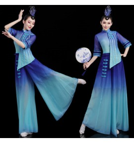 Women's chinese folk dance dress classical dance dress ancient traditional classical fairy princess fan umbrella dance dress