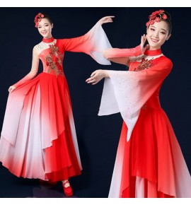 Women's chinese folk dance dress fairy dresses ancient traditional classical umbrella fan dance dresses