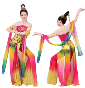 Women's chinese folk dance dress for female rainbow fairy chang e dance  photos drama cosplay costumes