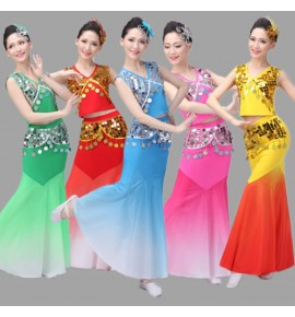 Women's chinese folk dance dresses belly dance girls modern dance peacock mermaid stage performance cosplay dresses