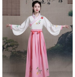 Women's chinese folk dance dresses fairy cosplay hanfu dresses classical princess tang dynasty performance Japanese korean robes kimono