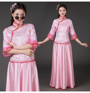 Women's chinese folk dance dresses female pink purple yellow ancient traditional classical dance hanfu drama fairy cosplay costumes dress