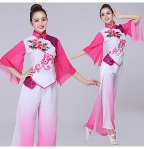 Women's chinese folk dance dresses fuchsia ancient traditional fairy yangko stage performance fan dance costumes dresses