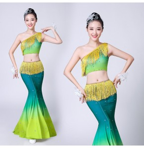 Women's chinese folk dance dresses modern dance peacock green colored tassels fairy cosplay classical dance dresses