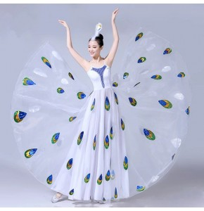 Women's chinese folk dance dresses peacock opening chorus modern dance stage performance cosplay dress