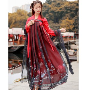 Women's chinese folk dance dresses  red with black Hanfu photography stage performance robes drama cosplay dress