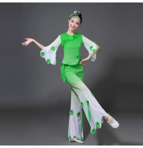 Women's chinese folk dance dresses stage performance umbrella fan dance yangko fan umbrella square dance skirts tops and pants