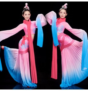 Women's chinese folk dance dresses water sleeves hanfu girls ancient traditional fairy umbrella classical dance dresses