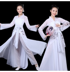 Women's Chinese folk dance dresses  white colored fairy drama cosplay fan umbrella  dance stage performance costumes