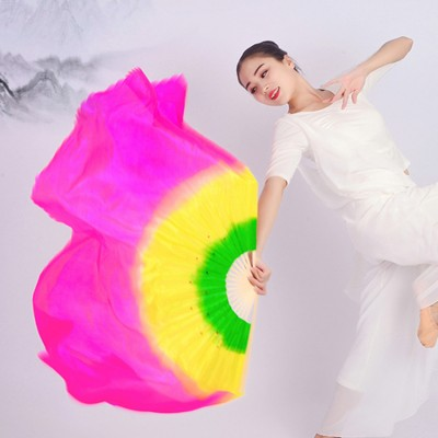 Women's Chinese folk dance fans ancient traditional stage performance rainbow colored dance silk fans