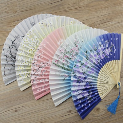 Women's Chinese folk dance fans handmade craft princess fairy drama cosplay ancient classical dance stage performance  silk like fabric fans