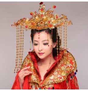 Women's chinese folk dance hair crown ancient traditional fairy tang emperor queen drama cosplay stage performance photograph costumes