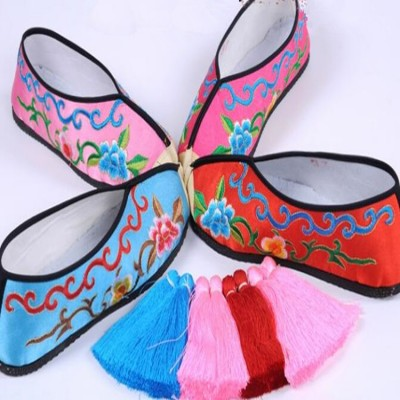 Women's Chinese folk dance shoes embroidered pattern clothing opera stage performance hanfu cosplay flats shoes