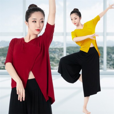 Women's chinese folk dance tops yoga fitnes gymnastics modern dance ballet dance tops stage performance shirts