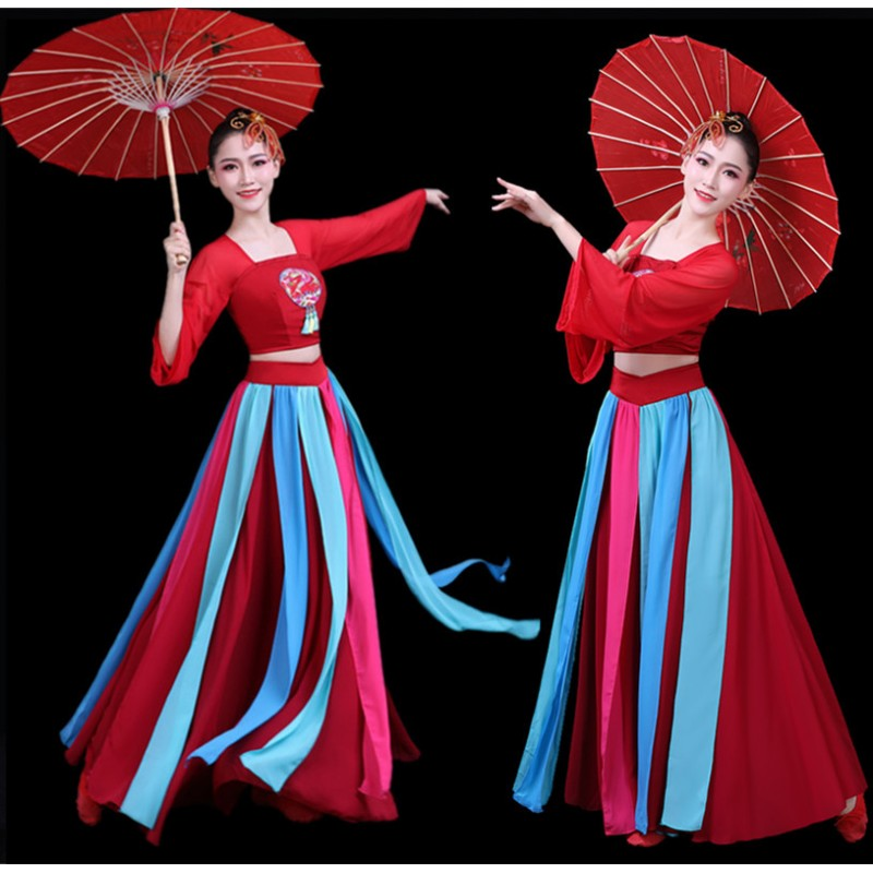 Women's chinese hanfu ancient traditional classical dance dresses fairy film cosplay dress fan umbrella dance dresses costumes