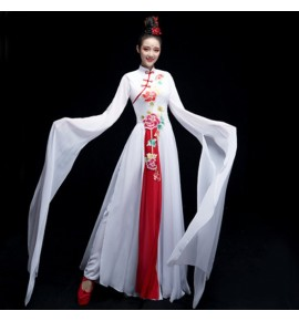 Women's chinese hanfu chinese dresses ancient traditional water sleeves fairy dress umbrella fan dance dresses costumes