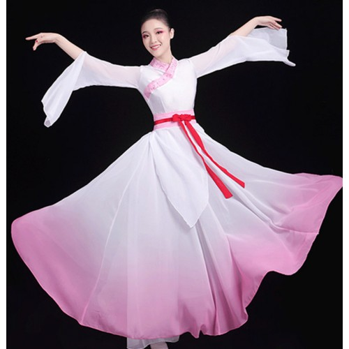 Women's chinese hanfu fairy princess drama cosplay dresses stage performance photos umbrella fan dance dresses