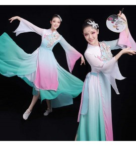 Women's chinese hanfu qipao dresses chinese  ancient traditional fairy dresses umbrella classical fan dance dresses
